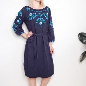 Boden NWT Navy Floral Embroidered Peasant Dress